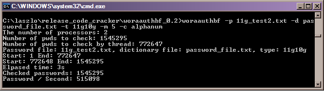 Dictionary attack with woraauthbf
