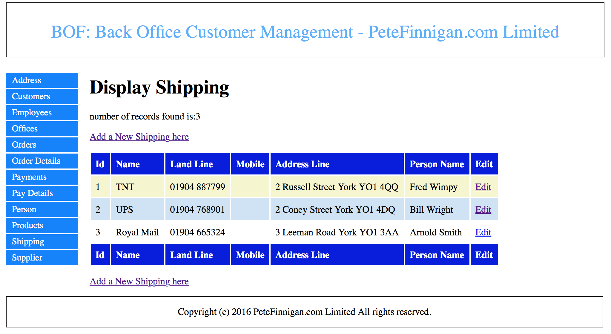 Screen to show all of the shipping records