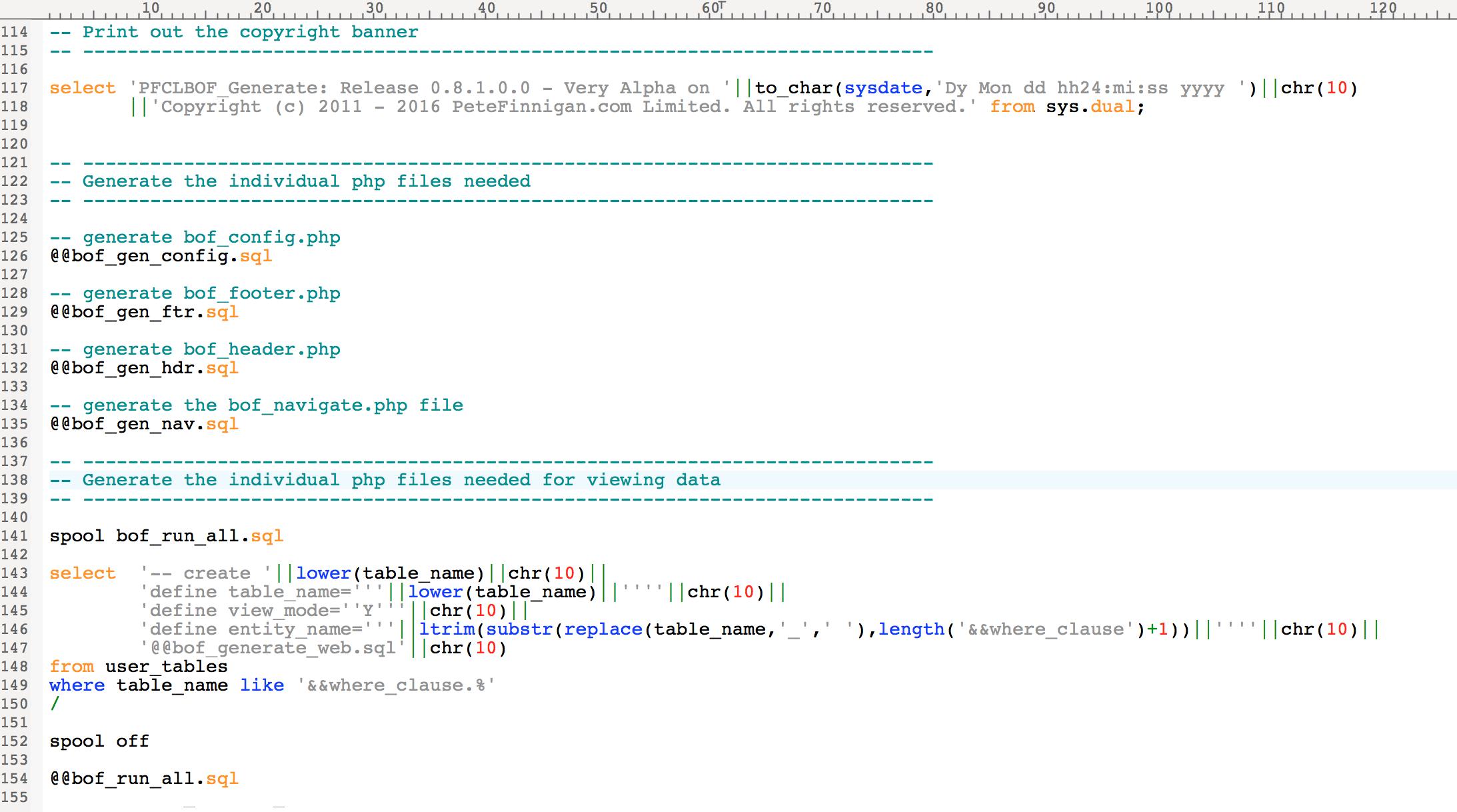Main PL/SQL Configuration page