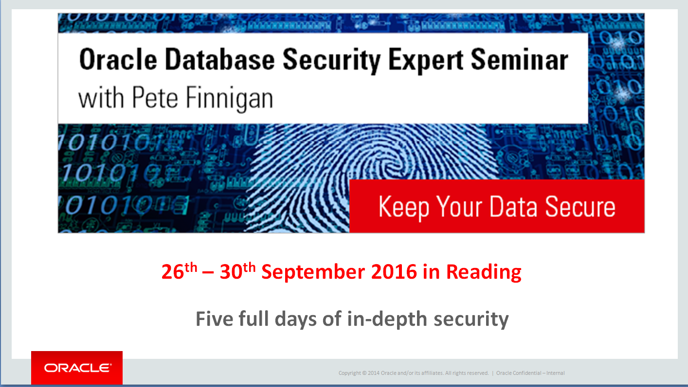Oracle Security Expert Summit Reading