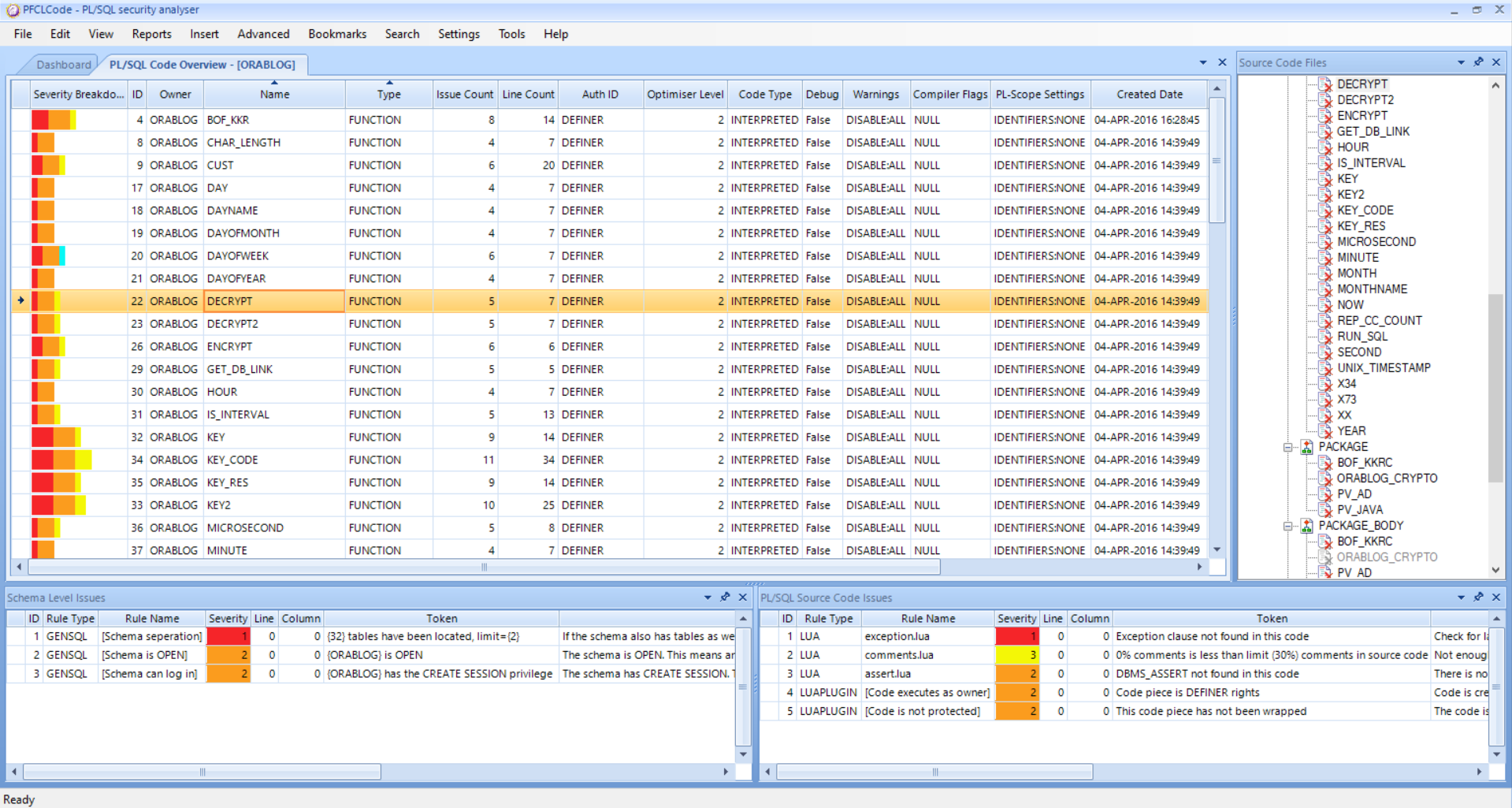 PFCLCode analysing a schema in an Oracle Database