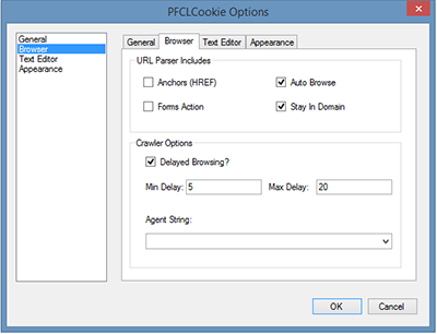 PFCLCookie Options Form