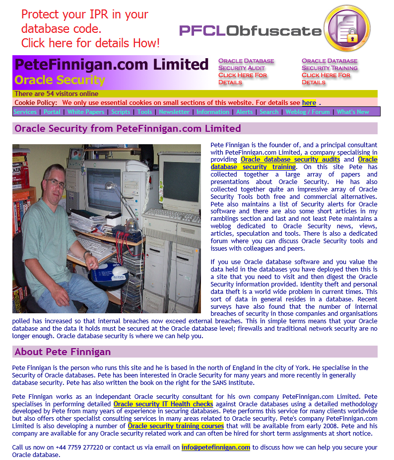 PeteFinnigan.com Old Website