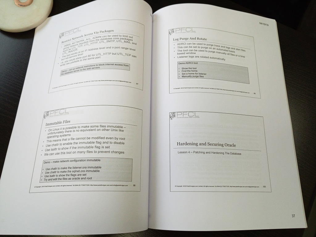Printed manuals for hardening and locking Oracle class October 2019