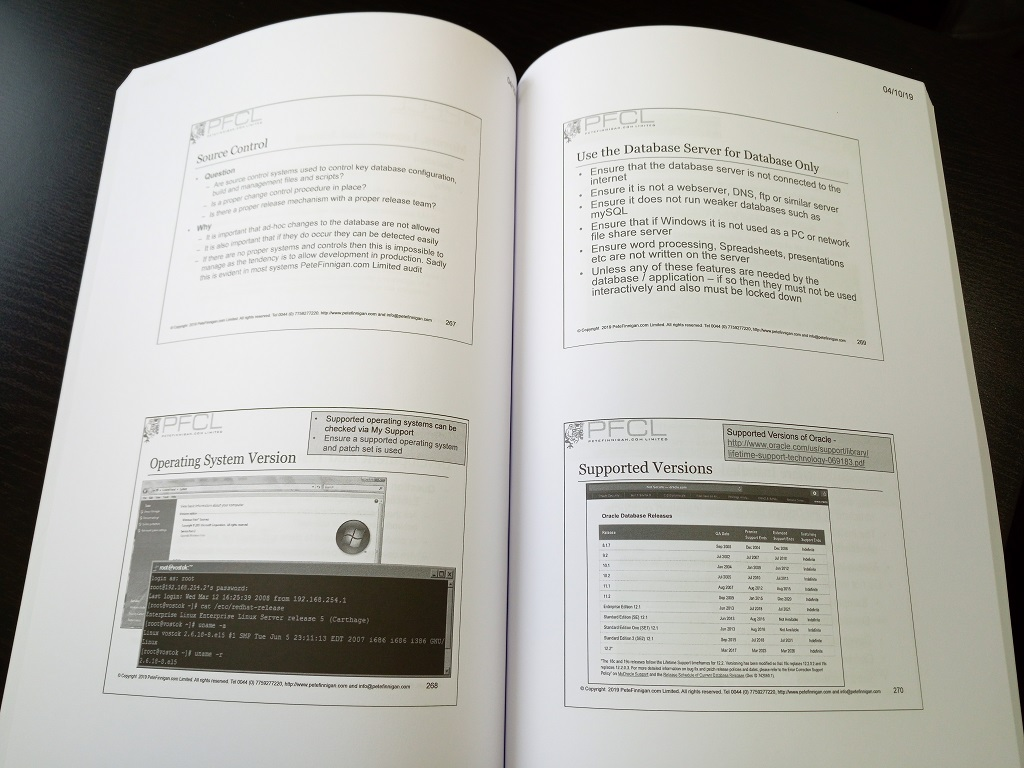 Printed manuals for How to Perform a Security Audit of an Oracle Database class October 2019