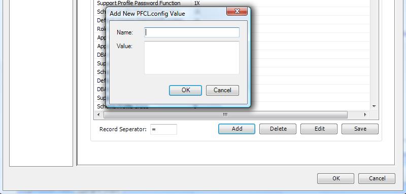 PFCLScan Configuration Dialog