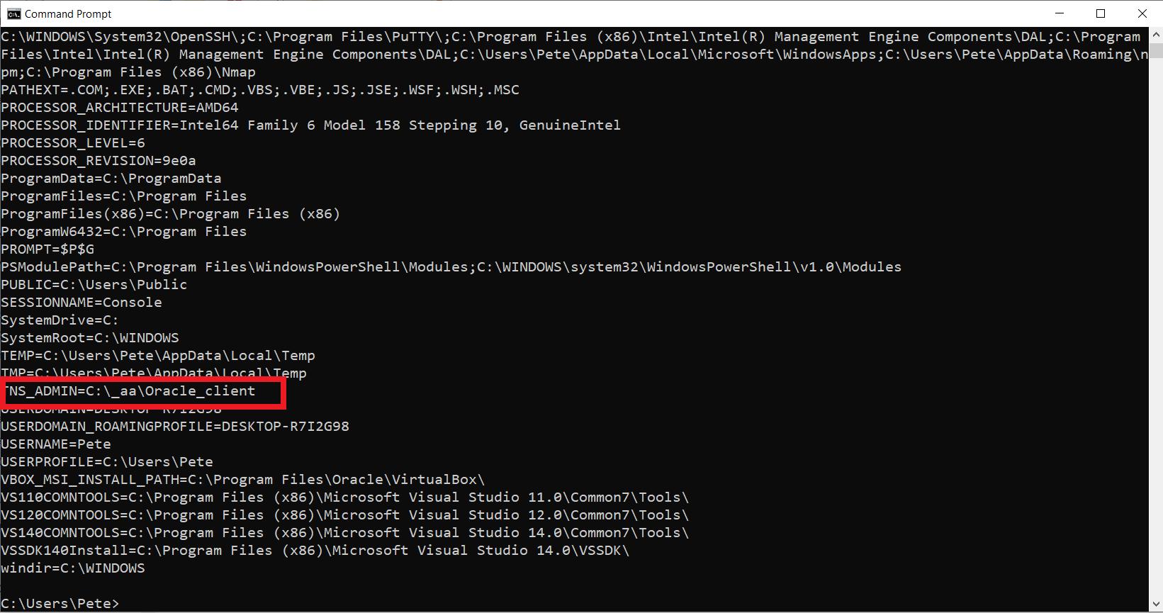 TNS_ADMIN environment variable