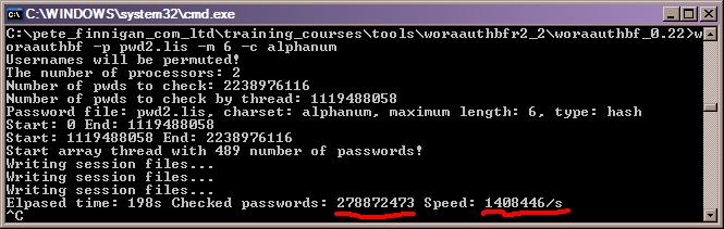 Running Woraauthbf Version 0.22